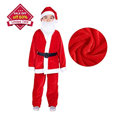 VeMee Santa Claus Costumes For Boys Christmas Santa Suits Outfits For Kids (5-9  sc 1 st  Amazon.com & Amazon.com: VeMee Santa Claus Costumes For Boys Christmas Santa ...