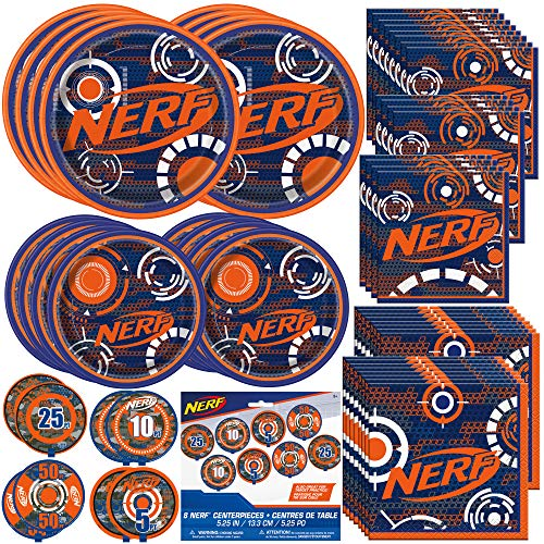 Unique Nerf Party Bundle | Beverage & Luncheon Napkins, Dinner & Dessert Plates, Bull's Eye Decoration | Great for Interactive Sports Birthday Themed Parties]()