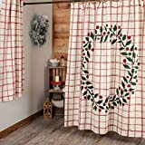 Piper Classics Red Double Windowpane Shower Curtain, 72' x 72', Rustic Farmhouse Country Bathroom Décor, Natural Cream & Cranberry Red w/Printed Green Christmas Wreath