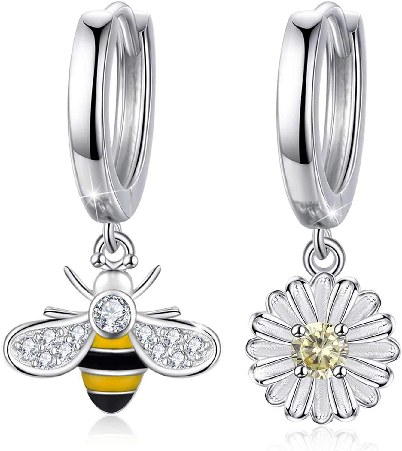 Bumble Bee Daisy Small Sterling Silver Stud Earrings