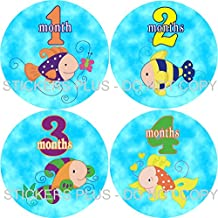 Neutral Baby Girl or Boy Month Stickers Monthly Baby Milestone Stickers Colorful Tropical Fish Aquarium I