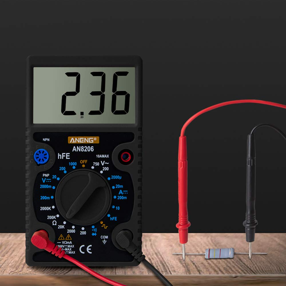 Electr/ónica ANENG AN8206 Mini mult/ímetro Digital Zumbador Salida de Onda Cuadrada Amperio Voltaje Ohm Tester Sonda Medidor electr/ónico m/últiple Negro