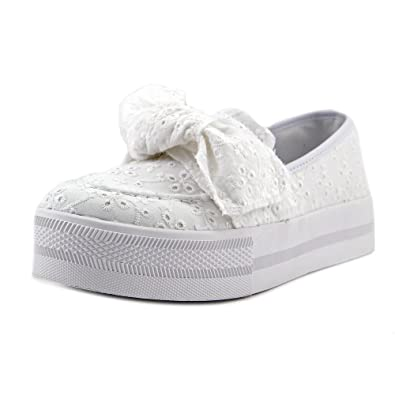 G by Guess Womens Chippy Fabric Low Top Slip On Fashion White Size 9.5 Eitj