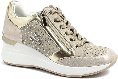 inblu IN000228 Sneaker Scarpa Donna Estiva Lacci con Cerniera Laterale Zeppa 5 CM E Sottopiede in Tessuto Imbottito Estraibile