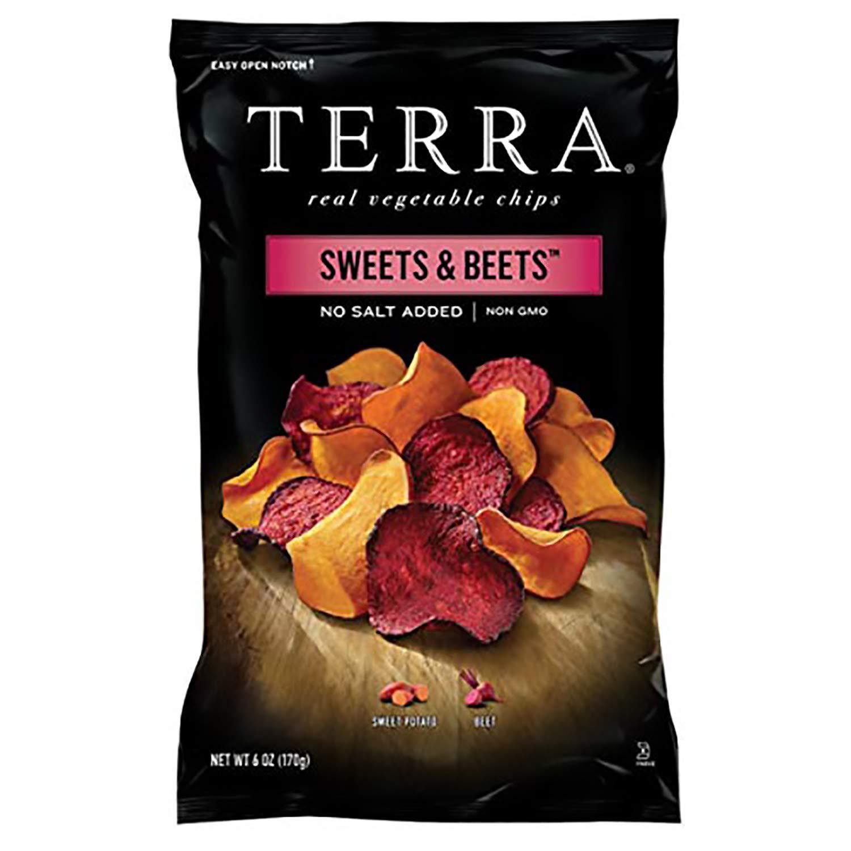 Terra Sweets & Beets Vegetable Chips, No Salt Added, 6 Oz (Pack of 12)