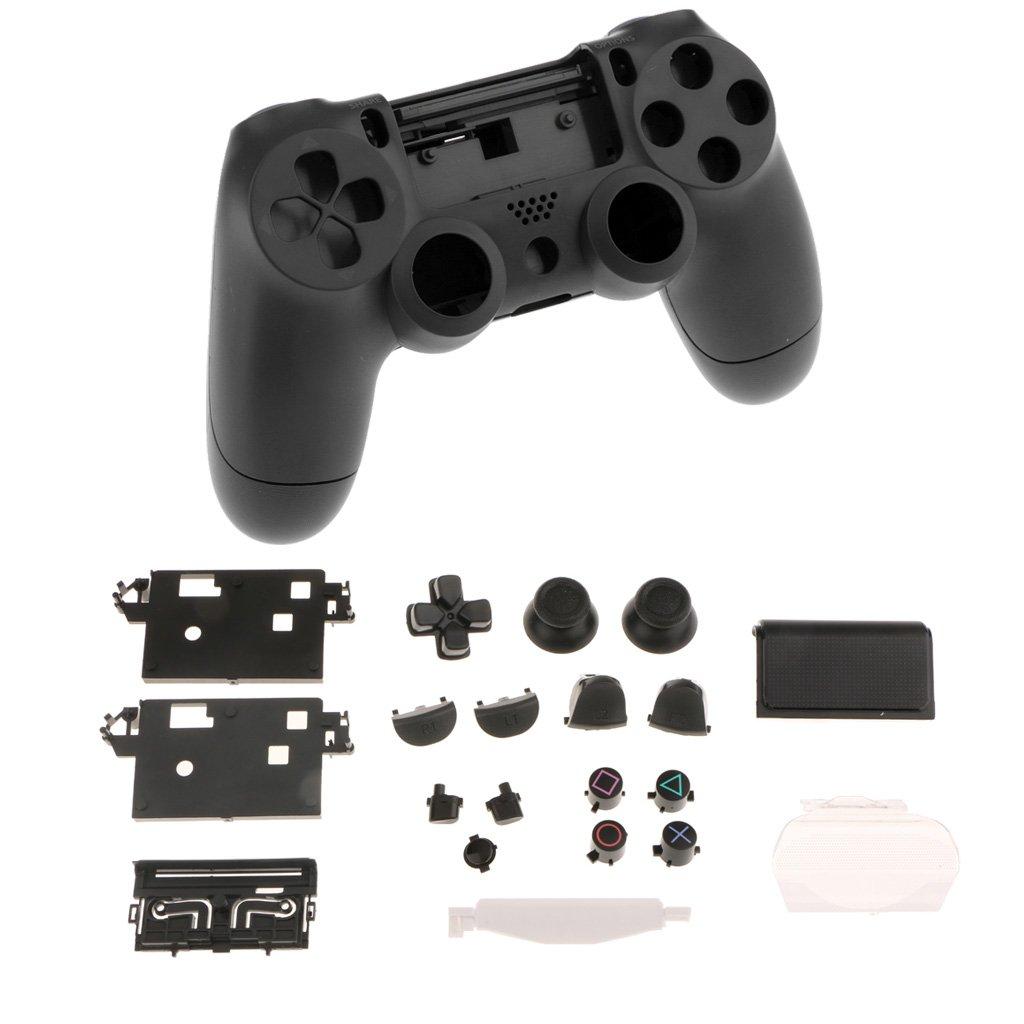 Homyl Gamepad Copertura Caso Kit con 14pcs Bottoni D-pad Thumbstick + 6pcs Film Plastica per PS4 - Bianca