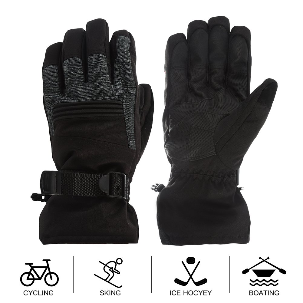 Mounchain Winter Ski Gloves Waterproof Windproof and Breathable Snow Gloves Fit Women and Men with Wrist Leashes,Zipper and Pocket,Anti-Slip PU Palm and Polyester Fabric Back with Insulated Cotton