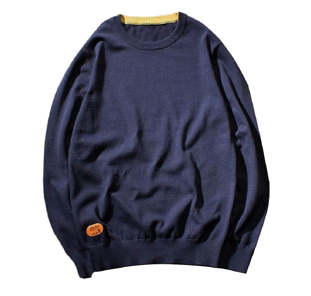 Zimaes-Men Regular Crewneck Oversized Loose-Fit Knitwear Sweater Jumper