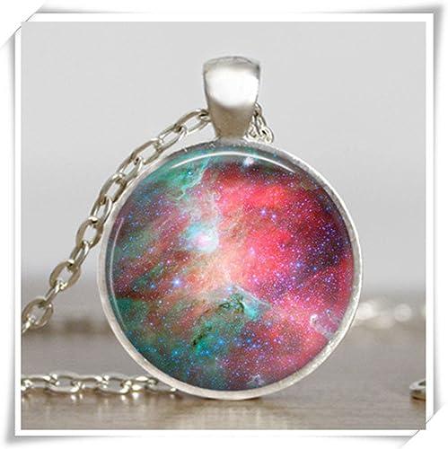 Sternen Galaxy System Planet Halskette Anhänger Doppelseitige Glaskuppel Schmuck