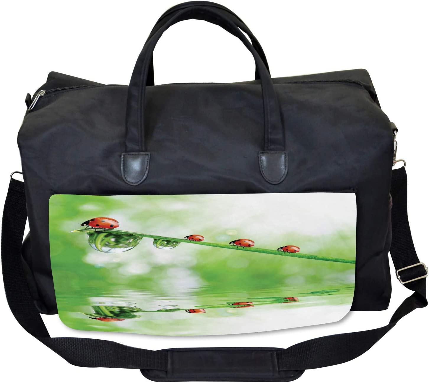 Ambesonne Nature Gym Bag Large Weekender Carry-on Ladybug on Water Image