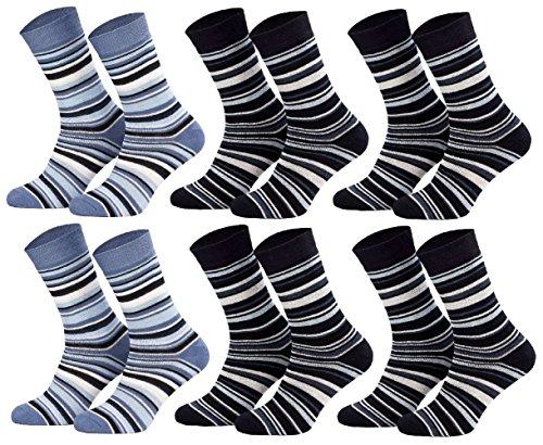 Tobeni 6 Paar Thermo Kindersocken mit Vollfrottefütterung für Jungen und Mädchen, Farbe:2xJeans 4xMarine;Größe:27-30