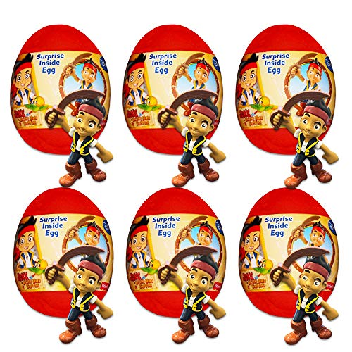 Disney Jake and The Neverland Pirates Party Supplies Pack -- 6 Disney Surprise Eggs with Toys Inside (Pirate Party Favors) -
