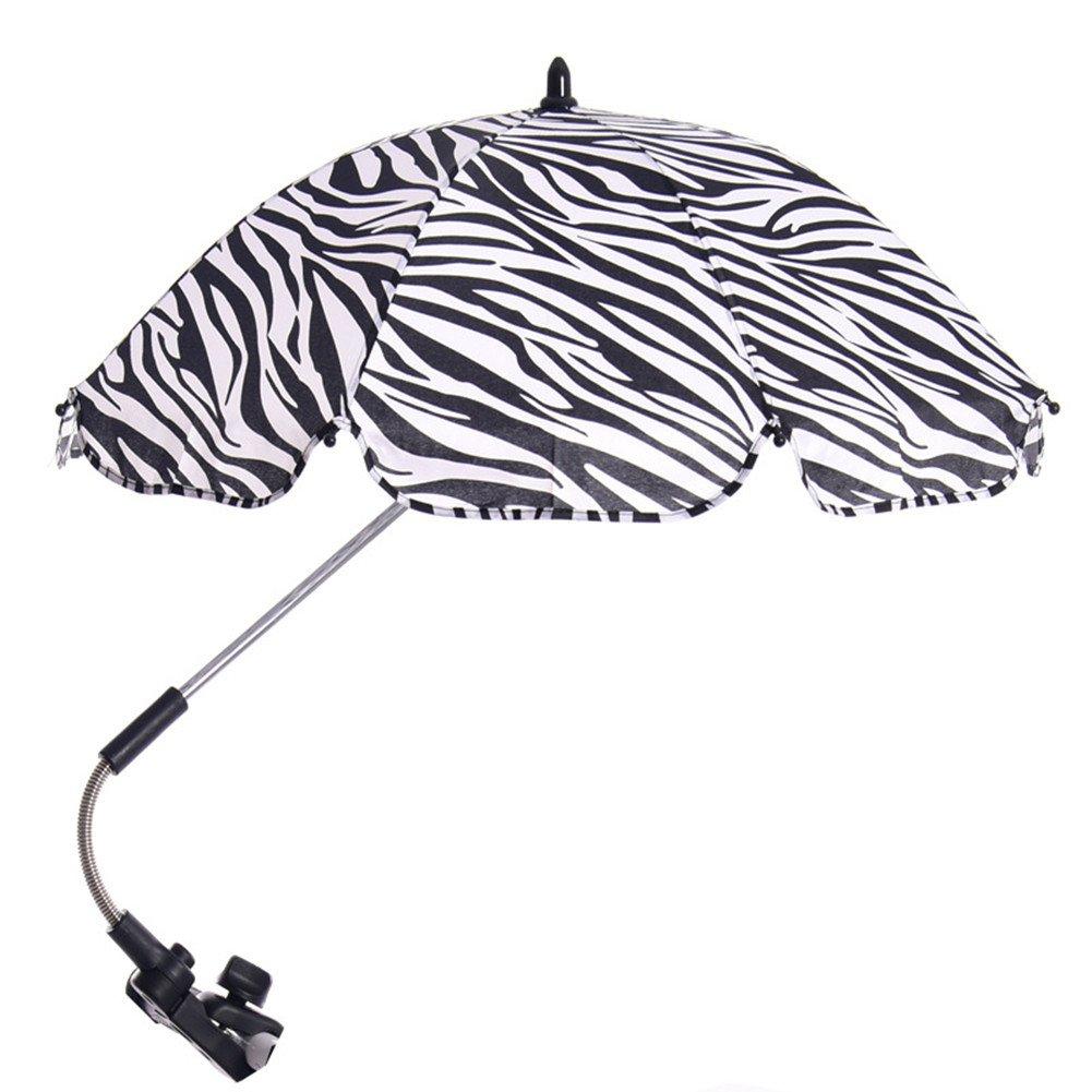 Katech Detachable Stroller Umbrella Adjustable Baby Pram Pushchair Sunshade Parasol with Swivel Connector and Umbrella Holder Bracket (Zebra Stripe)