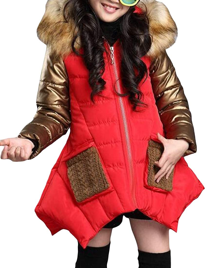 Cromoncent Girls Fashion Spell Color Thicken Faux Fur Hood Parka Jackets Coat
