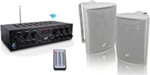 Bluetooth Home Audio Amplifier System - Upgraded 2018 6 Channel 750 Watt Wireless Home Audio Sound Power Stereo Receiver & Dual Electronics LU43PW 3-Way High Performance Outdoor Indoor Speakers