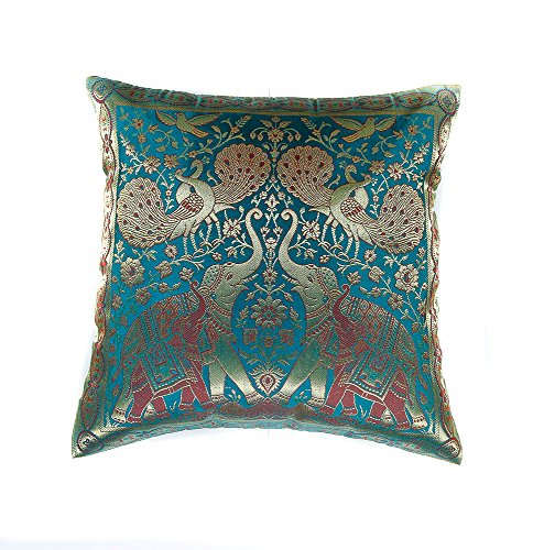 Narphosit India Style Elephant Peacock Throw Pillow Cover Decorative Sofa Couch Cushion Cover Zippered 16x16 Inch (40x40 Cm) Green (French Setee)