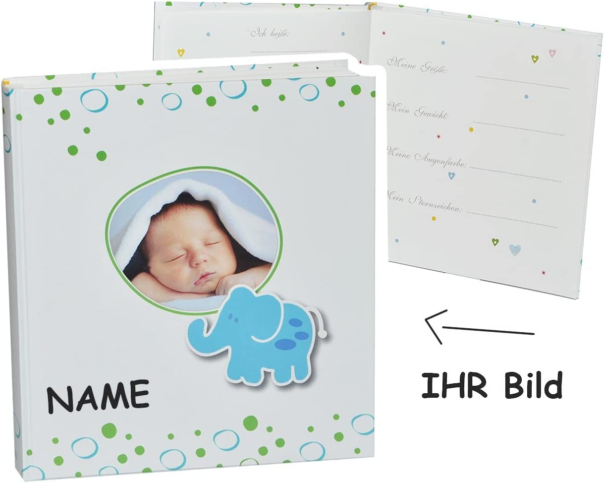 gro/ß f/ür bis zu 312 Bilder incl Namen Elefant mit Foto Fotobuch // Photoalbum // Babyalbum //.. Fotoalbum Baby erste Fotos Gebunden zum Einkleben blanko