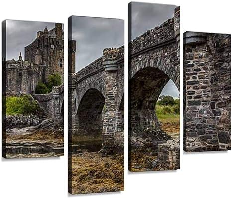 Eilean Donan Castle Scotland 4 Panel Canvas Print Wall Art
