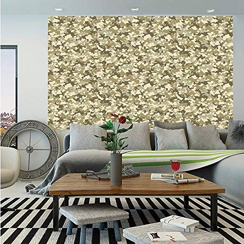 Camouflage Huge Photo Wall Mural,Faded Color Soldier Uniform Pattern Classic Camo Grunge Vintage Fashion Decorative,Self-Adhesive Large Wallpaper for Home Decor 100x144 inches,Khaki Olive Green