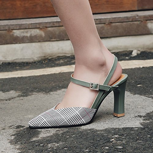 Carolbar Womens Pointed Toe Buckle Plaid Fashion Elegance Heeled Sandals Green hXYQrQPUOg