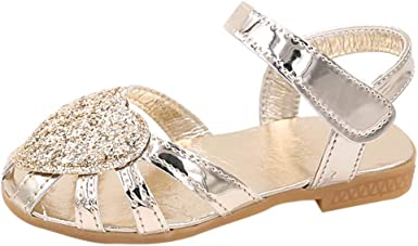 Lurryly Summer Children Kid Girls Solid Flower Sandals Beach Princess Casual Shoes