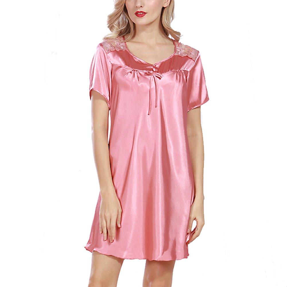Coral Red Share Maison Women's Comfort Large Size Summer Satin Lace Robe Dress Nightdress Sleepwear Nightgown Bathrobe ShortSleeve