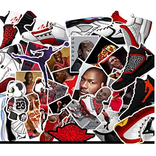 Meet Holiday NBA Basketball Star Stickers 52PCS Cartoon AJ Sneaker Stickers for Laptop Car Helmet Luggage Skateboard Computer Keyboard Fridge Personalize - Laptop Cars