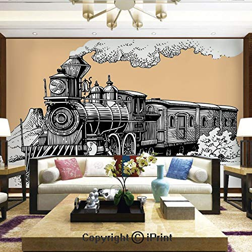 Cedar Wagon - Lionpapa_mural Artistic Background Removable Wall Mural Self-Adhesive,Vintage Wooden Train Rail Wild West Wagon in Countryside Drawing Effect Artsy,Home Decor - 100x144 inches