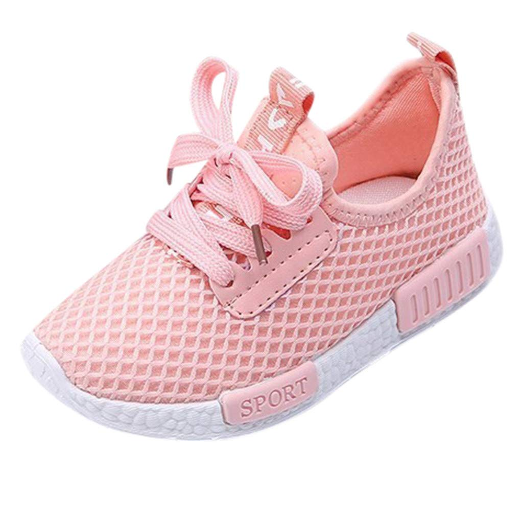 ZOMUSAR Fashion Kids Boys Girls Trainers Sneakers Sports Running Shoes Baby Infant Casual Shoes Pink