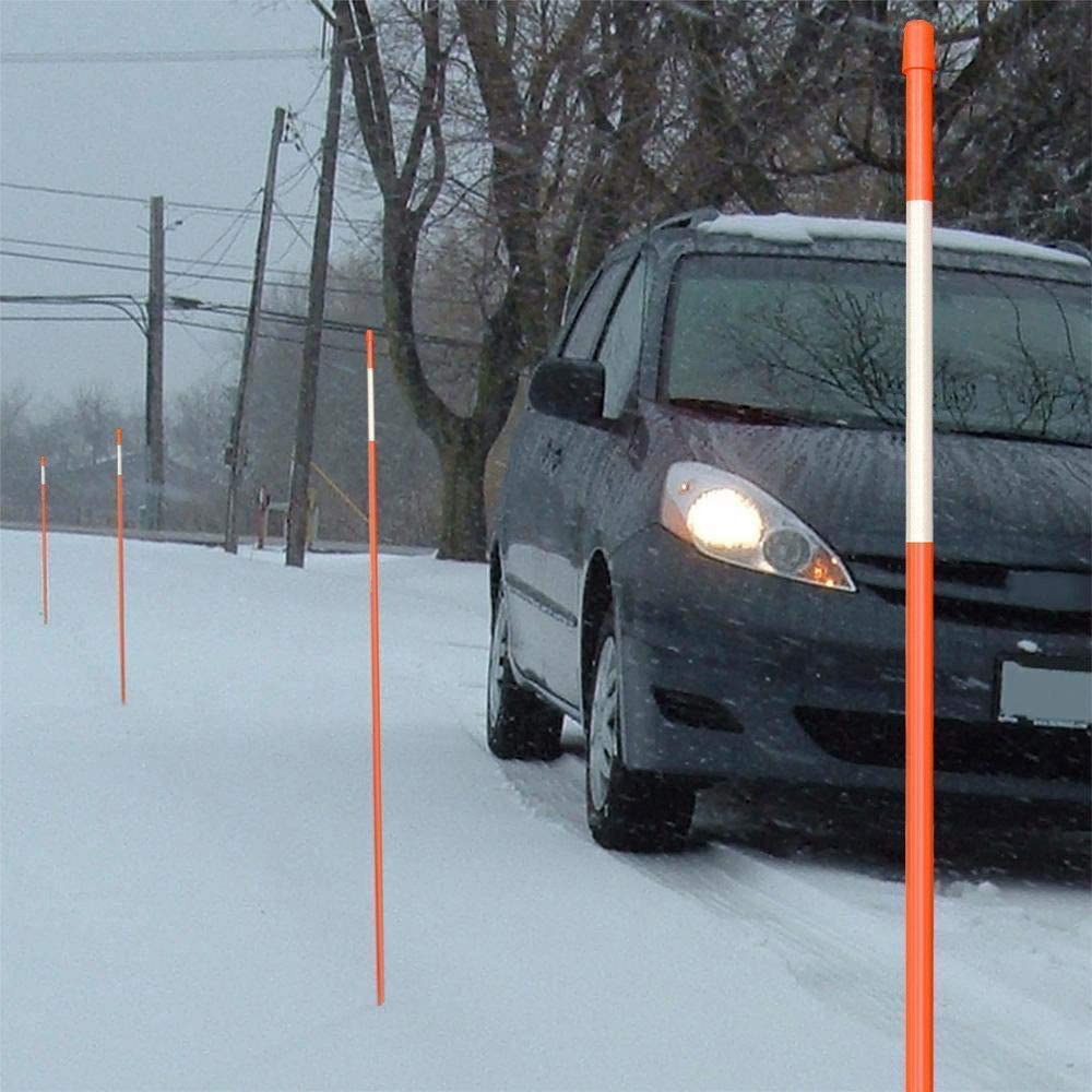 Sidewalks The ROP Shop Pack of 10 Orange 48 Inch Reflective Driveway Markers Parking Lots Walkways Snow Stakes Poles for Snow Plowing Driveways 5//16 Inch