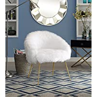 Inspired Home Ana Faux Fur Gold Powder Coated Metal Leg Accent Chair, White