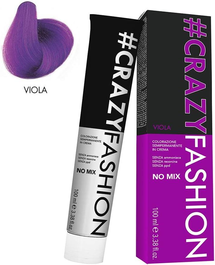 Crazy Fashion - Crema Colorante Semipermanente para el Cabello - Sin Amoníaco, Resorcinol ni PPD - Tintes Temporales para el Cabello - Colorante ...