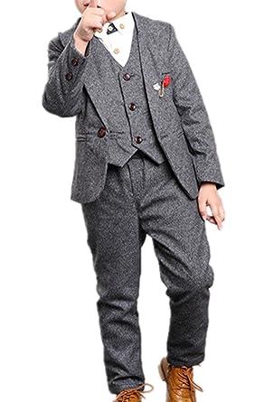 1eb67110b99ec (チェリーレッド)CherryRed 男の子 無地 フォーマルスーツ ジャケット+ベスト+ズボン+ブローチ
