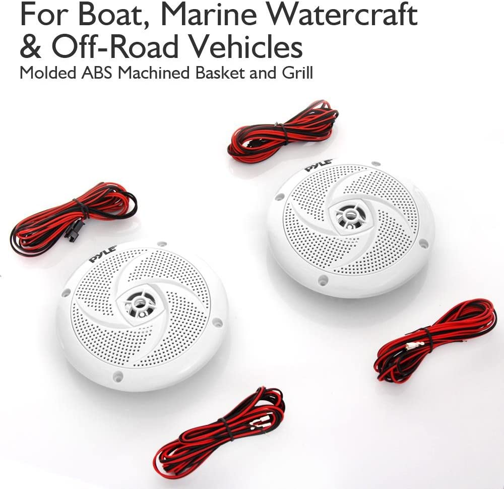 1 Pair PLMRS53WL Pyle Marine Speakers 180 Watt Power and Low Profile Slim Style 5.25 Inch 2 Way Waterproof and Weather Resistant Outdoor Audio Stereo Sound System with LED Lights