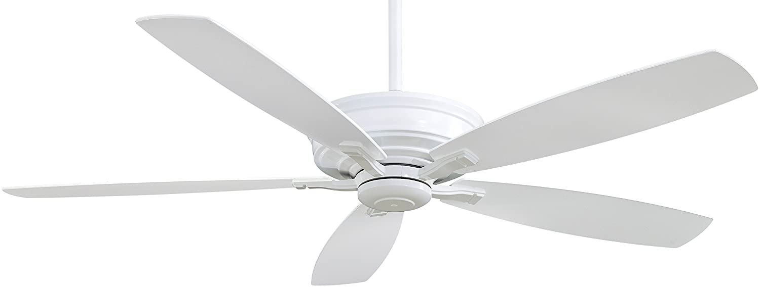 Minka-Aire F696-WH Protruding Mount, 5 White Blades Ceiling fan, White