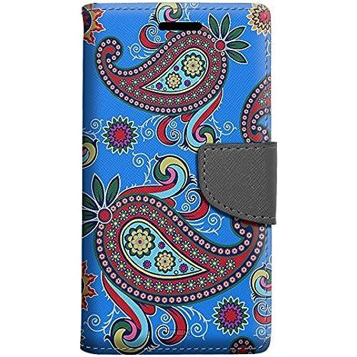 Samsung Galaxy S7 Edge Wallet Case - Paisley Flower on Blue Case Sales