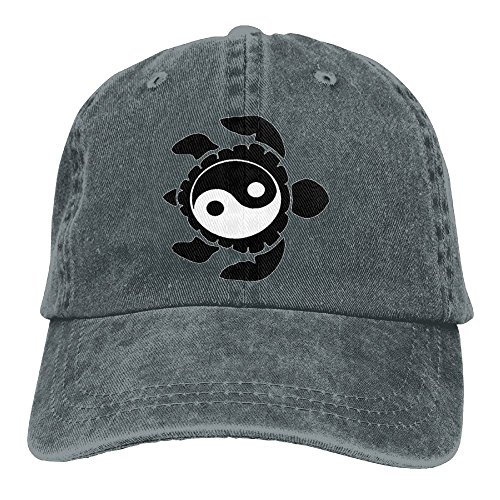 JTCY Taichi Yin Yang Turtle Plain Washed Dad Solid Cotton Polo Style Baseball Cap Hat Asphalt