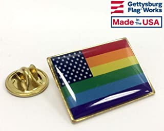 product image for New Glory Rainbow Pride Square Flag Lapel Pin - Qty 1 - Made in USA!