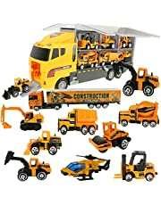 Jenilily Mini Model Vehicle Cars Toy Trucks,Excavator,Cement truck,Dumper,Bulldozer,Forklift,Road roller for Kids Age 3+