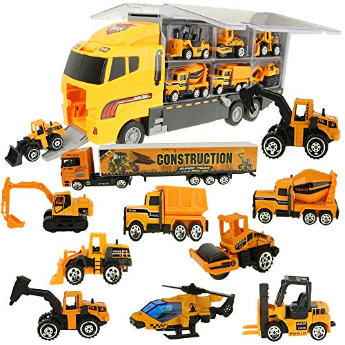 Jenilily Construction Truck Vehicle Container Car Toy Set Trucks Excavator Cement Truck Dumper Bulldozer Forklift Road Roller for Children Kids (12 in 1)