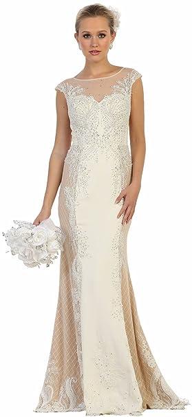 59110bddfbe1 Formal Dress Shops Inc RQ7626 Prom Evening Formal Designer Gown  (Ivory Nude
