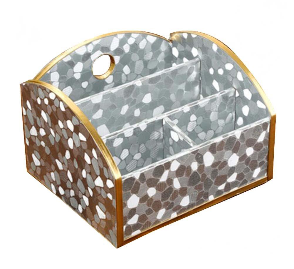 DRAGON SONIC Practical Wood&Leather Desk Storage Box Desktop Storage Chest,Silver