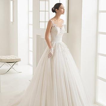 AN Trailing princesa fantasía perspectiva de encaje vestido de boda largo vestido de novia correa blanca