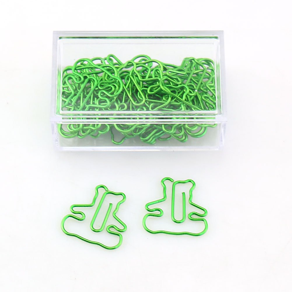 OUTU 30pcs/Box Bear cat Dolphins Shape Paper Clips Candy Color Funny Kawaii Bookmark Office School Stationery Marking Clips H0123 (Bear)