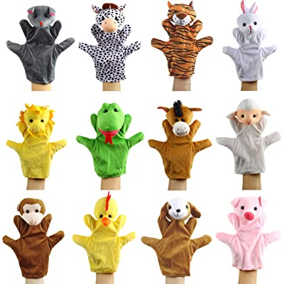 Andux Land 12 Pcs Animals Hand Puppets Set Plush Toys Baby Tell Story Props SO-38: Toys & Games