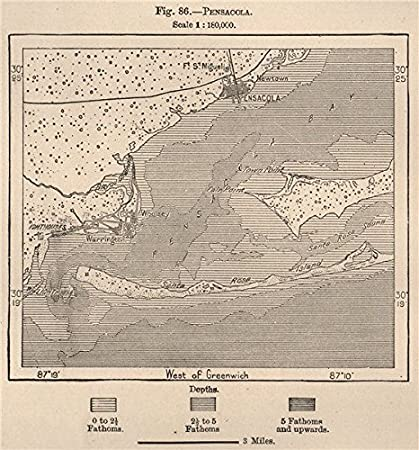 Amazon.com: Pensacola. Florida - 1885 - old map - antique map ... on