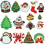 Iron on Patch Embroidery Patches, Satkago 15Pcs DIY Christmas Patterns Embroidered Patch Sew On Patches Applique for Clothes Jackets T-shirt Jeans Skirt Vests Scarf Hat Bag
