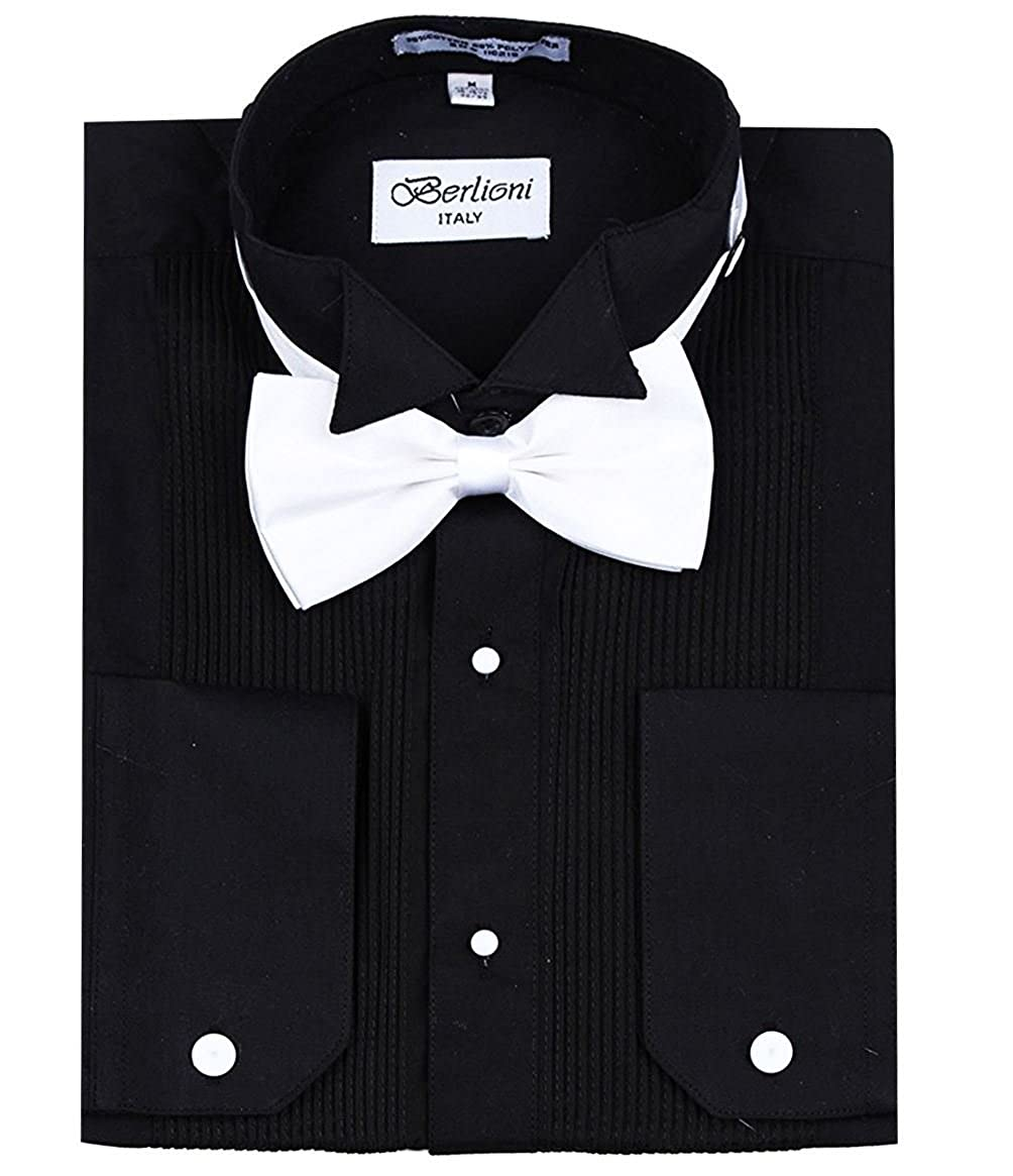 Berlioni Mens Classic Tuxedo Wing Tip Dress Shirt with Bowtie in Black and White