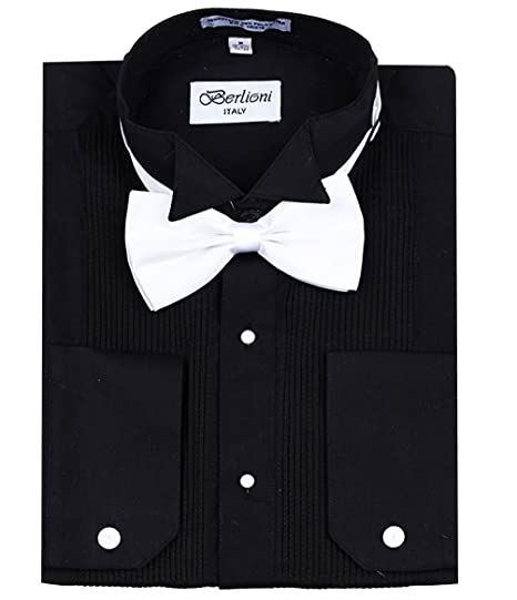 Berlioni Mens Classic Tuxedo Wing Tip Dress Shirt With Bowtie In