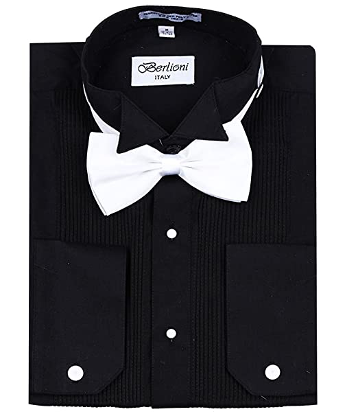 4781f5cd5a2 Berlioni Men s Classic Tuxedo Wing Tip Dress Shirt with Bowtie in Black and  White  Amazon.ca  Clothing   Accessories